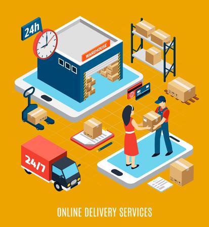 Isometrisches Logistikkonzept mit 24 Stunden Online-Lieferservice Arbeiter LKW und Lager 3D-Vektor-Illustration Vektorgrafik