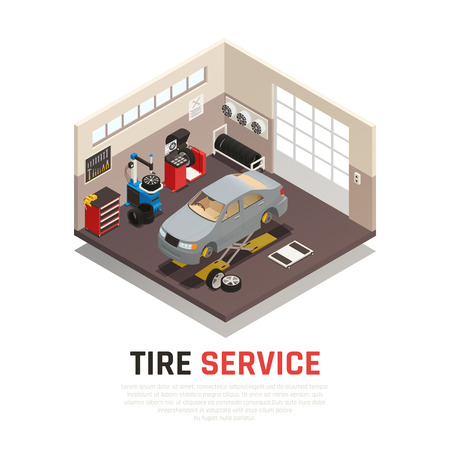 Tire service workshop interior with automobile jacks car tire fitting and balancing equipment isometric vector illustration Ilustrace