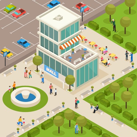Urban architecture public buildings isometric composition with modern mall shopping center outdoor area fountain customers vector illustration
