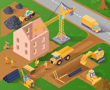 Two storeyed building construction process 3d isometric horizontal vector illustration Standard-Bild - 111849067
