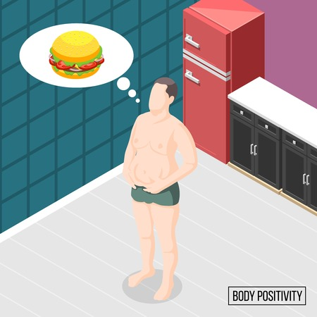 Body positivity movement isometric vector illustration of man with excess weight dreaming about burger in kitchen interior