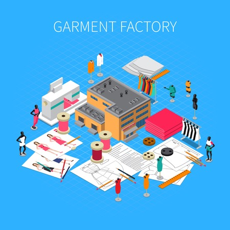 Garment factory isometric concept with patterns and samples symbols vector illustration