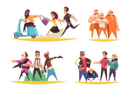 Concept de design criminel avec des personnages humains métaphoriques plats de gangsters voleurs d'armes et de personnes condamnées illustration vectorielle
