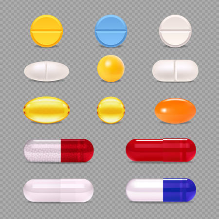Realistic set of colorful medicine pills dragee and capsules isolated on transparent  background vector illustration