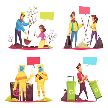 Eco volunteering cartoon design concept planting of trees, garbage collection, radiation control, recyclable waste isolated vector illustration Illustration