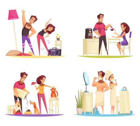 Cartoon 2x2 design concept with couple cleaning teeth having breakfast feeding pets and training in morning isolated vector illustration