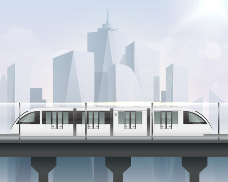 Passenger tram train realistic composition with view of cityscape and light railway with modern metropolitan train vector illustration Illustration