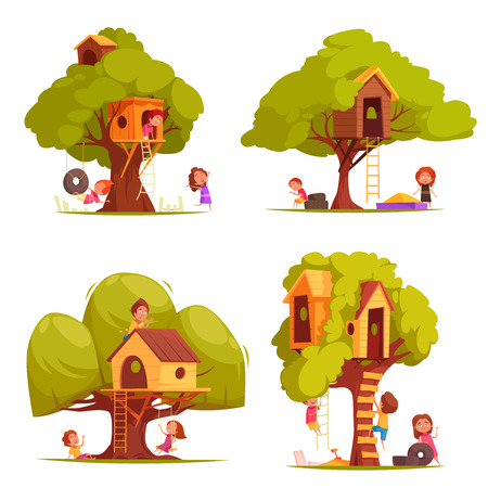 Tree houses with children during games, set of wooden huts between foliage with ladders isolated vector illustration Illustration