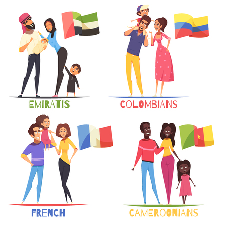 Families with children of various nationalities french, colombians, cameroonians, arabs from emirates,  design concept isolated vector illustration Vettoriali