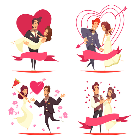Newlyweds cartoon design concept, couples during bridal dance, groom carrying bride on hands isolated vector illustration