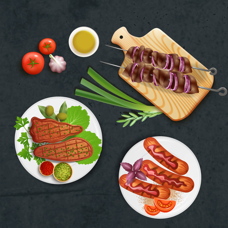 Delicious bbq dishes cooked on grill with sauce and vegetables realistic vector illustration Çizim