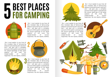 Flat design infographics with text field presenting information about best camping places and necessary equipment vector illustration