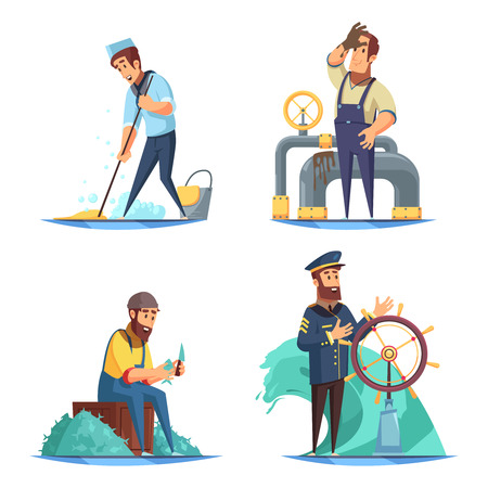 Cartoon nautical 2x2 design concept with captain and sailors isolated on white background vector illustration Illustration