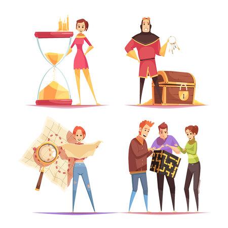 Concept de conception de quête de réalité 2x2 avec des adultes impliqués dans un jeu intelligent dans une illustration vectorielle de dessin animé de la vie réelle