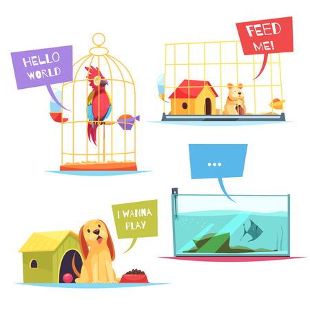 Pet shop design concept with playful puppy, colorful parrot, hungry hamster, fish in aquarium isolated vector illustration