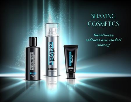 Realistic shaving cosmetics gel foam and balm illuminated advertising composition on dark background 3d vector illustration Illustration