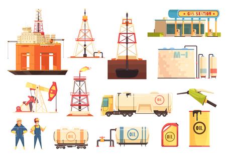 Kolekcja ikon kreskówka przemysłu wydobycia ropy naftowej z wiercenia stacji benzynowej i platformami jack-up na białym tle ilustracji wektorowych