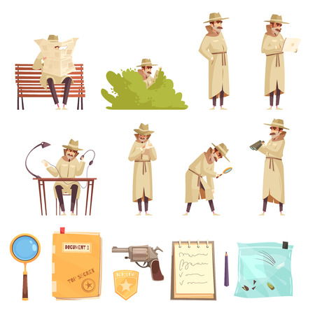 Private detective spy work cartoon icons collection with revolver magnifier forensic evidence secret documents isolated vector illustration