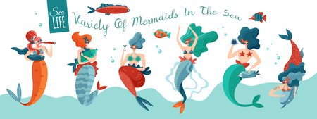 Funny playful sexy mermaids in sea waves with underwater world creatures horizontal ocean life banner vector illustration