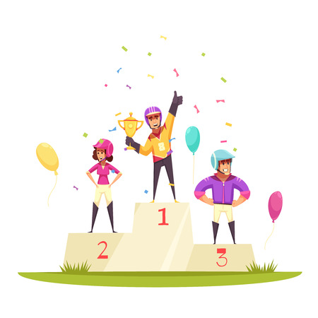 Equestrian sport composition with view of outdoor winners rostrum podium with athletes colourful balloons and confetti vector illustration