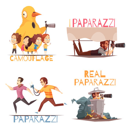 Paparazzi design concept with isolated compositions of doodle style human characters and text on blank background vector illustration Illustration
