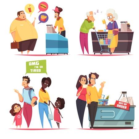 Le icone di concetto 4 dei caratteri delle code hanno messo con le vecchie giovani coppie nell'illustrazione di vettore delle linee del fastfood e del supermercato