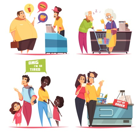 Queues characters concept 4 icons set with old young couples in supermarket and fastfood lines vector illustration Illustration