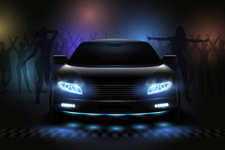 Car led lights realistic composition with view of night club with dancing people silhouettes and dimlight vector illustration