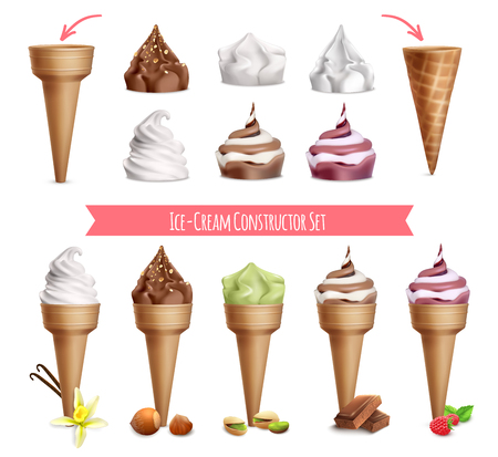 Ice cream realistic constructor set with isolated images of sugar cones and topping with editable text vector illustration