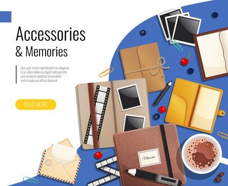 Accessories and memories design concept set of postal envelope film slide folders diary notepad vector illustration Stock Illustratie