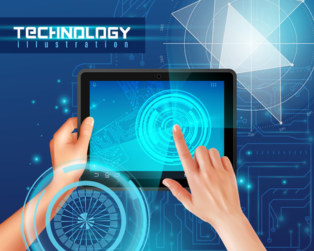 Hands on tablet touchscreen realistic top view image against blue glossy abstract digital technology background vector illustration