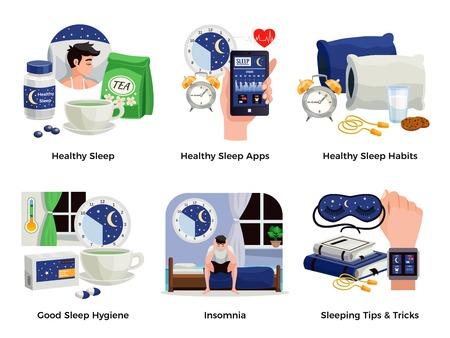 Gesunder Schlaf und Schlaflosigkeit Kompositionen Satz von Gewohnheiten Apps Tipps Tricks gute Hygiene isolierte Vektor-Illustration Vektorgrafik