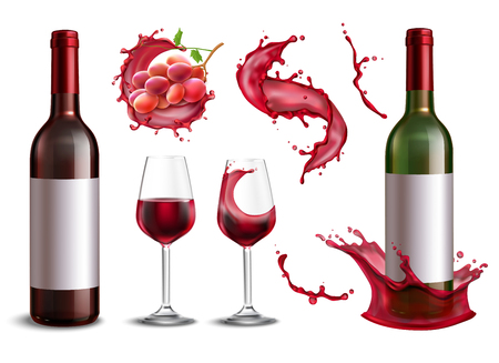 Wine splash collection with isolated realistic images of red wine bottles bunch of grapes and glasses vector illustration