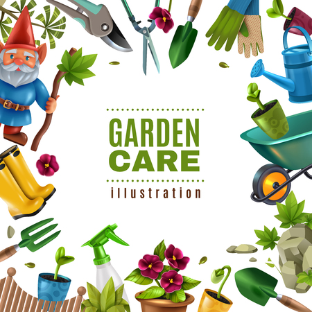 Garden maintenance colorful tools equipment accessories square frame with spade seedlings pruners flowers rake sprayer vector illustration