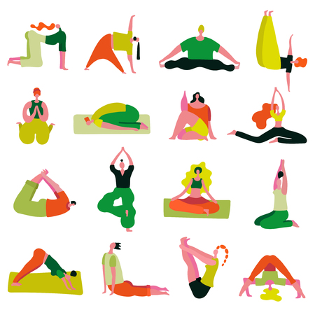 Yoga asanas collection from beginner to advanced seated standing stretching twisted with lotus pose isolated vector illustration