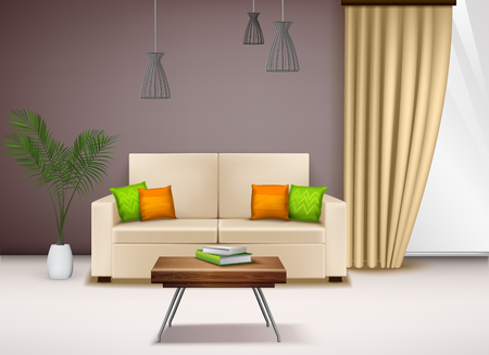 Modern comfortable beige love seat  with fancy bright pillows beautiful home interior decoration ideas realistic vector illustration