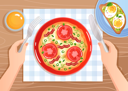 Hands with cutlery over scrambled eggs with tomatoes and bacon on wooden table background flat vector illustration Vettoriali