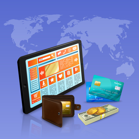Internet shopping online payment with banking cards realistic composition on violet background with world map vector illustration
