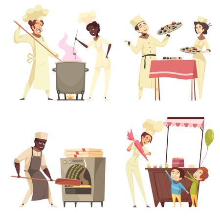 Professionelle Kochdesign-Konzeptköche verschiedener ethnischer Zugehörigkeit während der Herstellung von Pizza, isolierte Vektorillustration der Sushi-Zubereitung Vektorgrafik