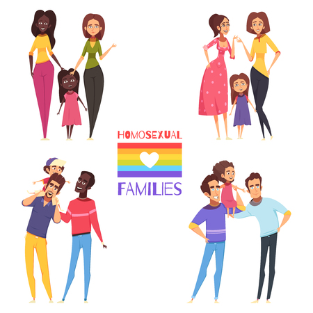 Set of homosexual families with children, gay and lesbian couples, lgbt flag isolated vector illustration Illustration