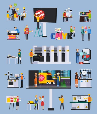 Advertising agency production orthogonal flat elements set with designers projects presentation billboard ads printing installation vector illustration