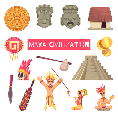 Maya civilization set of ancient masks accessories buildings and people isolated on white background cartoon vector illustration Illustration