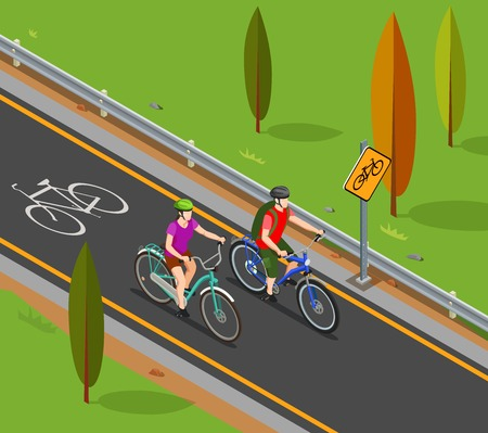 Cycling tourism isometric composition couple during bicycle ride on bike lane vector illustration Illustration