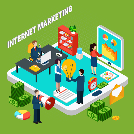 Internet digital marketing isometric concept with people working at office money and electronic devices 3d vector illustration Illustration