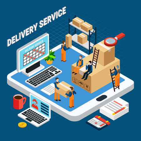 Logistics concept with delivery service workers on blue background 3d isometric vector illustration Illustration