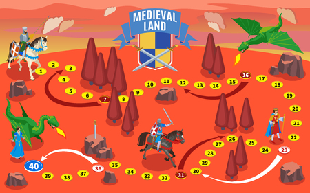Medieval isometric game map composition with knights on horses and fantasy land with dragons and trees vector illustration