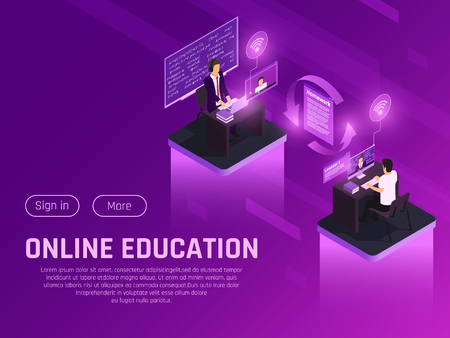 Online education glow isometric composition with clickable buttons editable text and futuristic neon pictograms human characters vector illustration