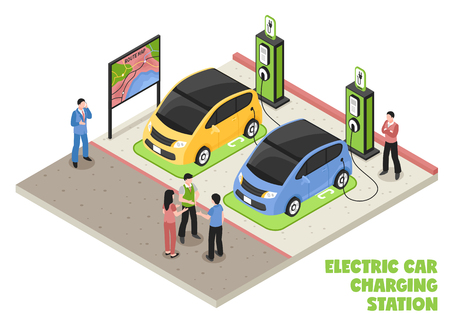 Electric car charging station isometric composition with employee and clients waiting for their cars be serviced vector illustration Illustration