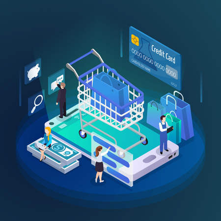 E-commerce mobile shopping glow isometric composition with cart credit card customers on smartphone screen vector illustration Illustration