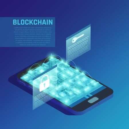 Blockchain composition on blue background demonstrating modern technologies of secure encrypted data transmission isometric vector illustration Illustration